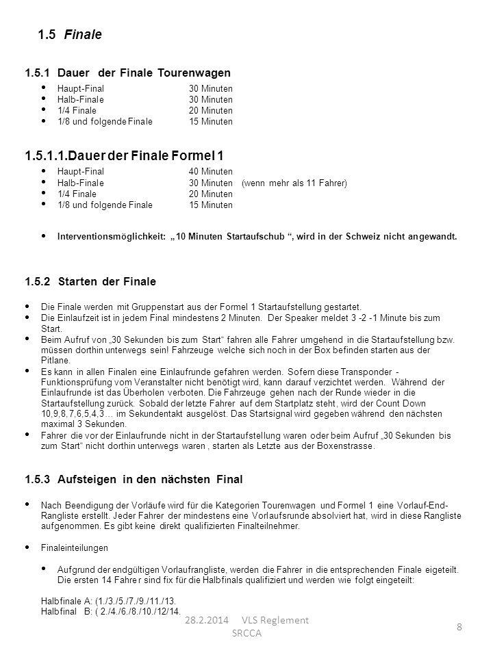 8 1.5 Finale 1.5.1 Dauer der Finale Tourenwagen Haupt-Final 30 Minuten Halb-Finale 30 Minuten 1/4 Finale 20 Minuten 1/8und folgendeFinale 15 Minuten 1