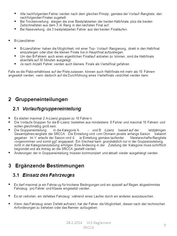 28.2.2014 VLS Reglement SRCCA 9 Alle nachfolgenden Fahrer werden nach dem gleichen Prinzip, gemäss der Vorlauf-Rangliste, den nachfolgenden Finalen zu