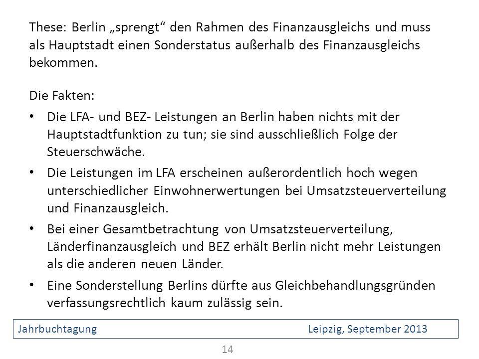 These: Berlin sprengt den Rahmen des Finanzausgleichs und muss als Hauptstadt einen Sonderstatus außerhalb des Finanzausgleichs bekommen. Die Fakten: