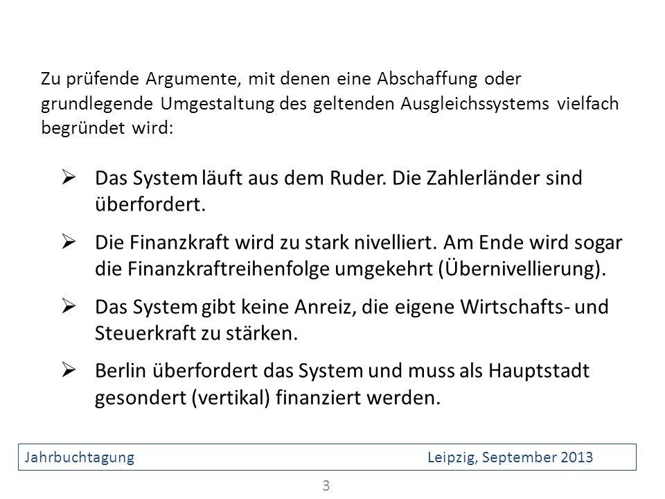 Zu prüfende Argumente, mit denen eine Abschaffung oder grundlegende Umgestaltung des geltenden Ausgleichssystems vielfach begründet wird: Das System l