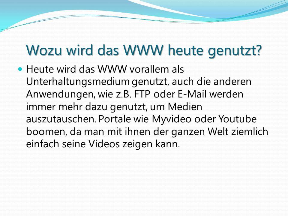 Wozu wird das WWW heute genutzt? Heute wird das WWW vorallem als Unterhaltungsmedium genutzt, auch die anderen Anwendungen, wie z.B. FTP oder E-Mail w