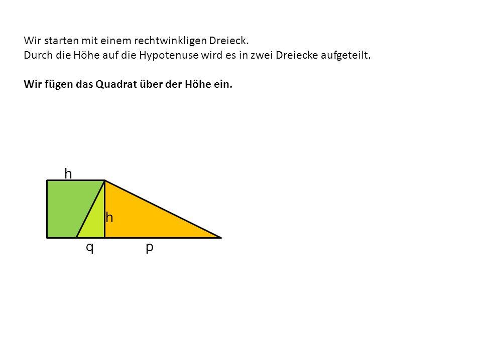 Wir starten mit einem rechtwinkligen Dreieck. Durch die Höhe auf die Hypotenuse wird es in zwei Dreiecke aufgeteilt. Wir fügen das Quadrat über der Hö