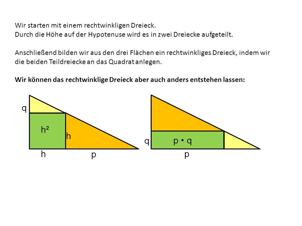 Wir starten mit einem rechtwinkligen Dreieck. Durch die Höhe auf der Hypotenuse wird es in zwei Dreiecke aufgeteilt. Anschließend bilden wir aus den d