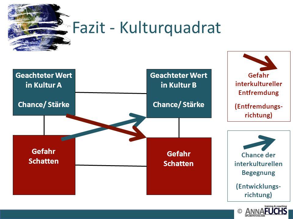 Fazit - Kulturquadrat Chance der interkulturellen Begegnung (Entwicklungs- richtung) Gefahr interkultureller Entfremdung (Entfremdungs- richtung) Geac