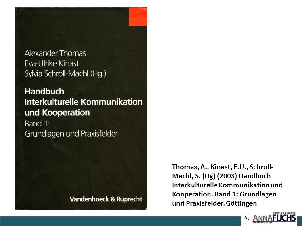 © Thomas, A., Kinast, E.U., Schroll- Machl, S. (Hg) (2003) Handbuch Interkulturelle Kommunikation und Kooperation. Band 1: Grundlagen und Praxisfelder