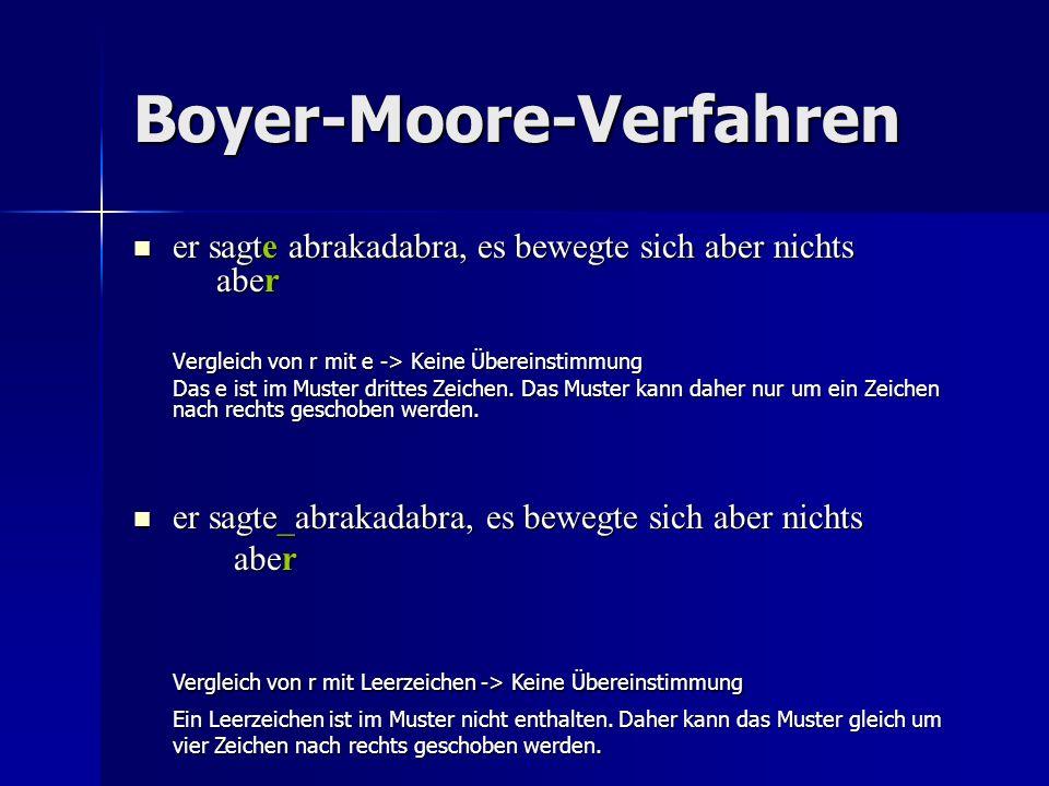 Boyer-Moore-Verfahren er sagte abrakadabra, es bewegte sich aber nichts aber er sagte abrakadabra, es bewegte sich aber nichts aber Vergleich von r mit e -> Keine Übereinstimmung Das e ist im Muster drittes Zeichen.