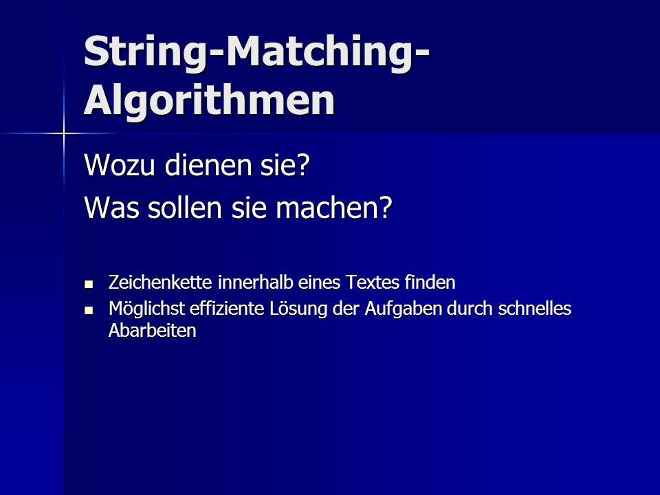 String-Matching- Algorithmen Wozu dienen sie? Was sollen sie machen? Zeichenkette innerhalb eines Textes finden Zeichenkette innerhalb eines Textes fi