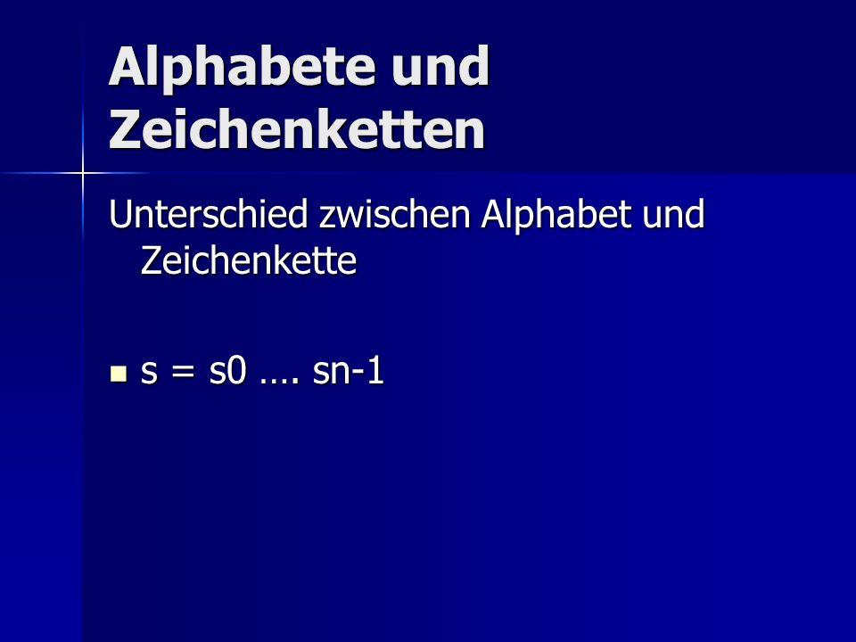 Alphabete und Zeichenketten Unterschied zwischen Alphabet und Zeichenkette s = s0 …. sn-1 s = s0 …. sn-1