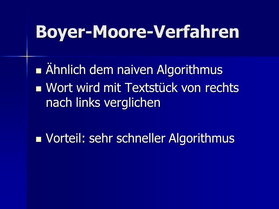 Boyer-Moore-Verfahren Ähnlich dem naiven Algorithmus Ähnlich dem naiven Algorithmus Wort wird mit Textstück von rechts nach links verglichen Wort wird