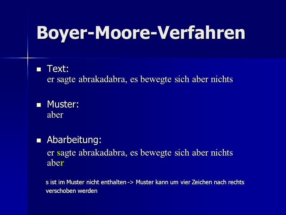Boyer-Moore-Verfahren Text: er sagte abrakadabra, es bewegte sich aber nichts Text: er sagte abrakadabra, es bewegte sich aber nichts Muster: aber Muster: aber Abarbeitung: Abarbeitung: er sagte abrakadabra, es bewegte sich aber nichts aber s ist im Muster nicht enthalten -> Muster kann um vier Zeichen nach rechts verschoben werden