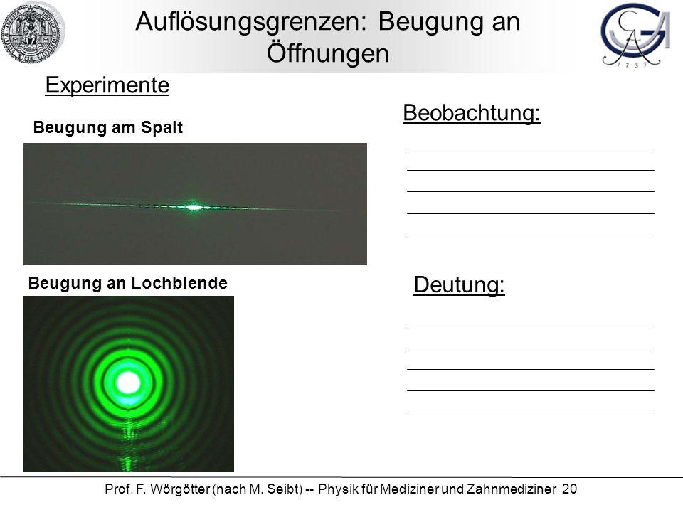Prof. F. Wörgötter (nach M. Seibt) -- Physik für Mediziner und Zahnmediziner 20 Auflösungsgrenzen: Beugung an Öffnungen Beobachtung: Deutung: Experime