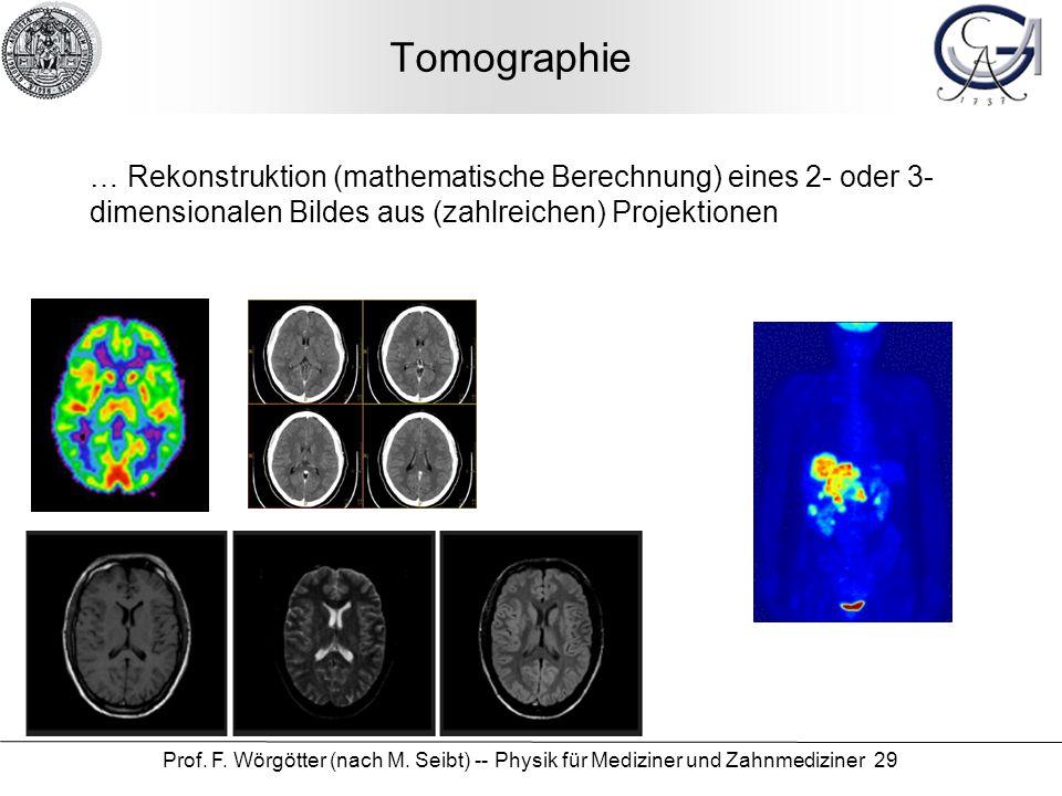 Prof. F. Wörgötter (nach M. Seibt) -- Physik für Mediziner und Zahnmediziner 29 Tomographie … Rekonstruktion (mathematische Berechnung) eines 2- oder