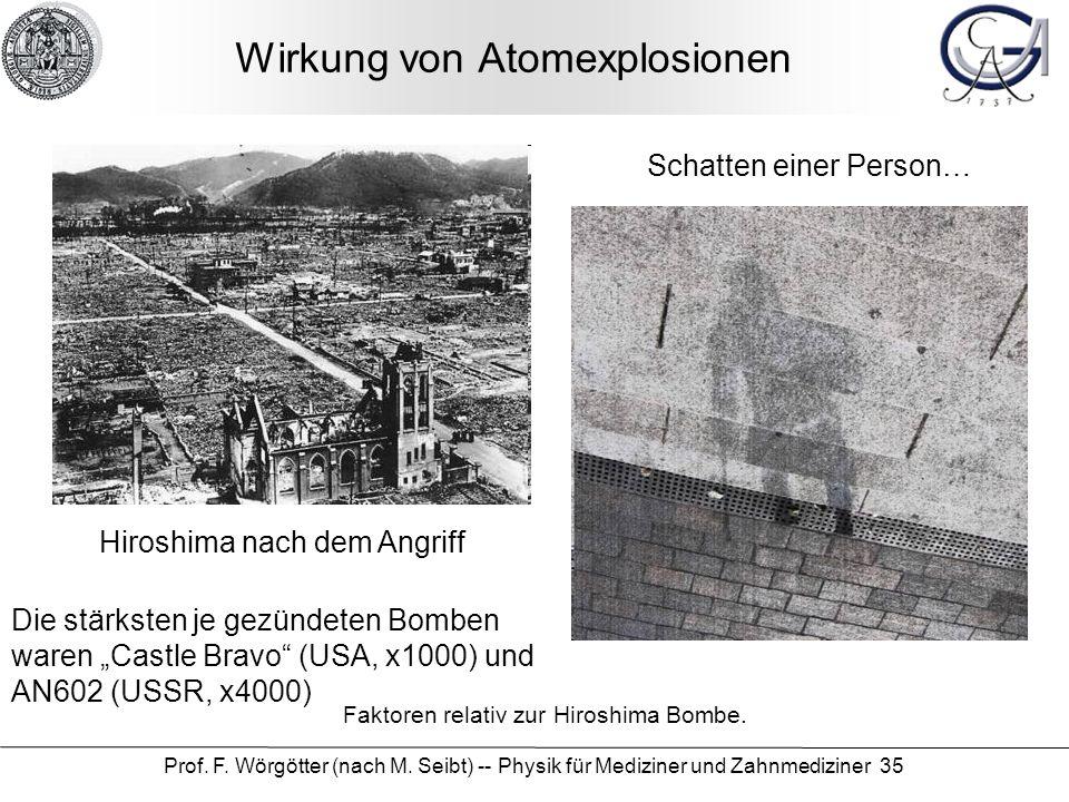 Prof. F. Wörgötter (nach M. Seibt) -- Physik für Mediziner und Zahnmediziner 35 Wirkung von Atomexplosionen Schatten einer Person… Hiroshima nach dem