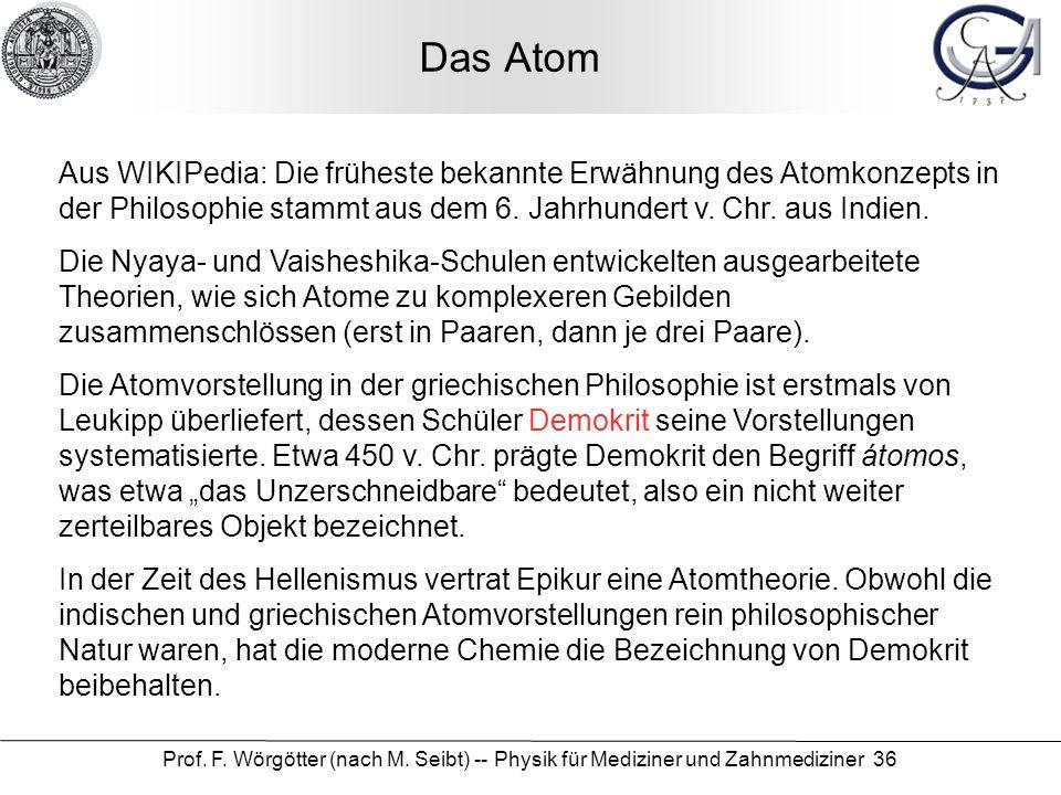 Prof. F. Wörgötter (nach M. Seibt) -- Physik für Mediziner und Zahnmediziner 36 Das Atom Aus WIKIPedia: Die früheste bekannte Erwähnung des Atomkonzep