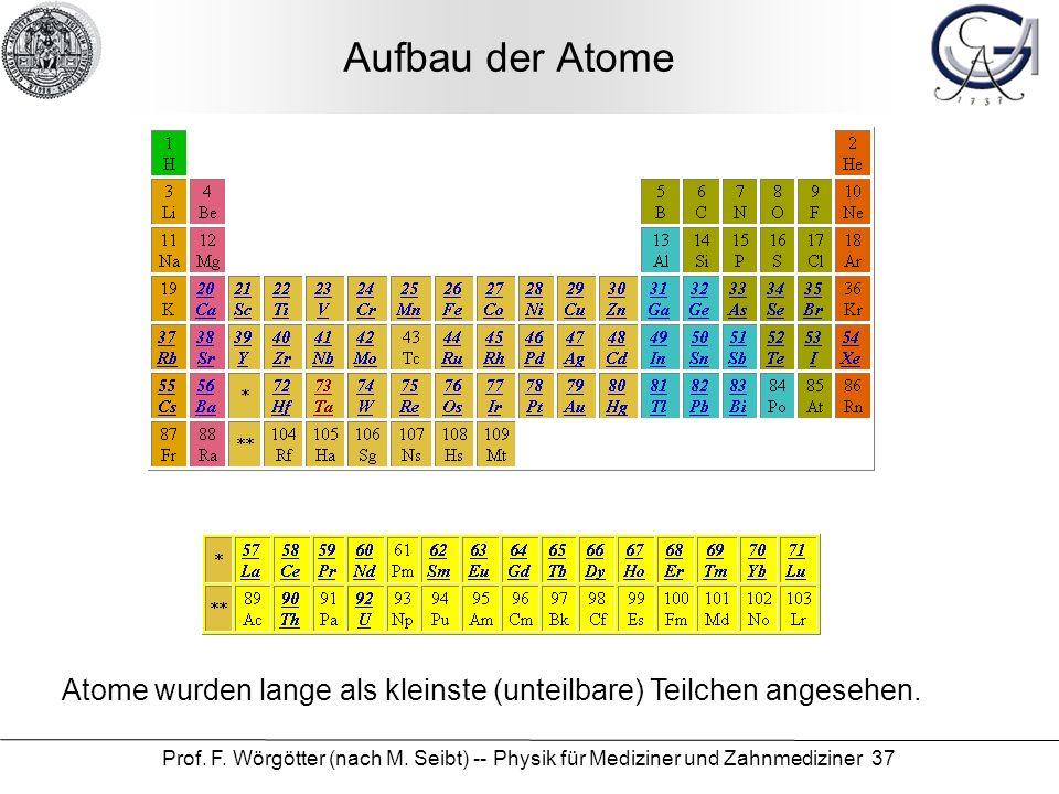 Prof. F. Wörgötter (nach M. Seibt) -- Physik für Mediziner und Zahnmediziner 37 Aufbau der Atome Atome wurden lange als kleinste (unteilbare) Teilchen