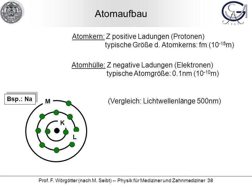 Prof. F. Wörgötter (nach M. Seibt) -- Physik für Mediziner und Zahnmediziner 38 Atomaufbau K L M Atomkern: Z positive Ladungen (Protonen) typische Grö