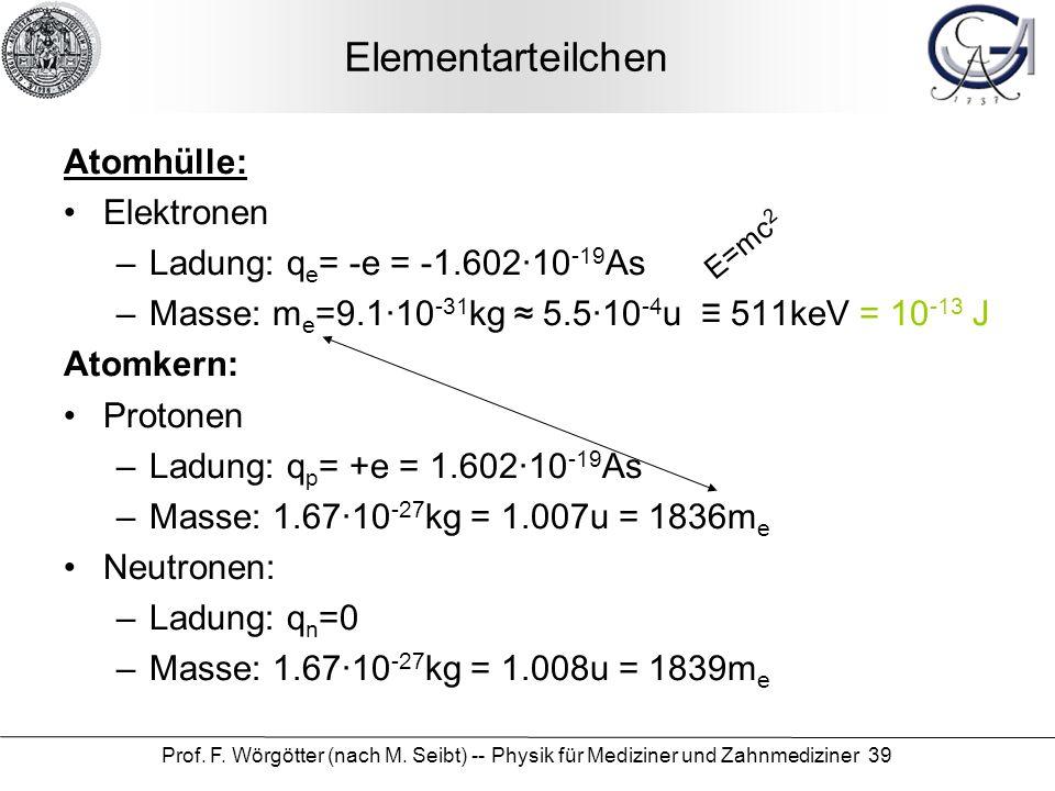 Prof. F. Wörgötter (nach M. Seibt) -- Physik für Mediziner und Zahnmediziner 39 Elementarteilchen Atomhülle: Elektronen –Ladung: q e = -e = -1.60210 -