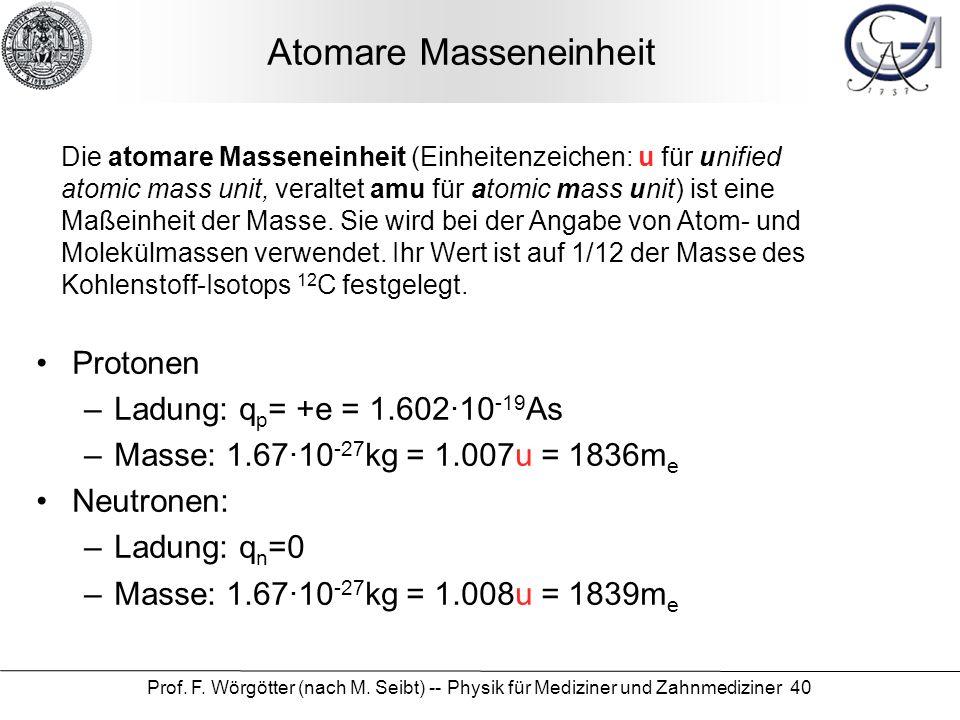 Prof. F. Wörgötter (nach M. Seibt) -- Physik für Mediziner und Zahnmediziner 40 Atomare Masseneinheit Die atomare Masseneinheit (Einheitenzeichen: u f