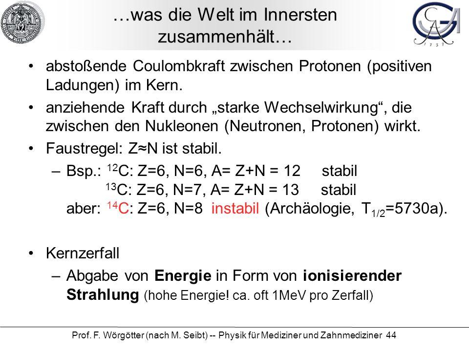 Prof. F. Wörgötter (nach M. Seibt) -- Physik für Mediziner und Zahnmediziner 44 …was die Welt im Innersten zusammenhält… abstoßende Coulombkraft zwisc