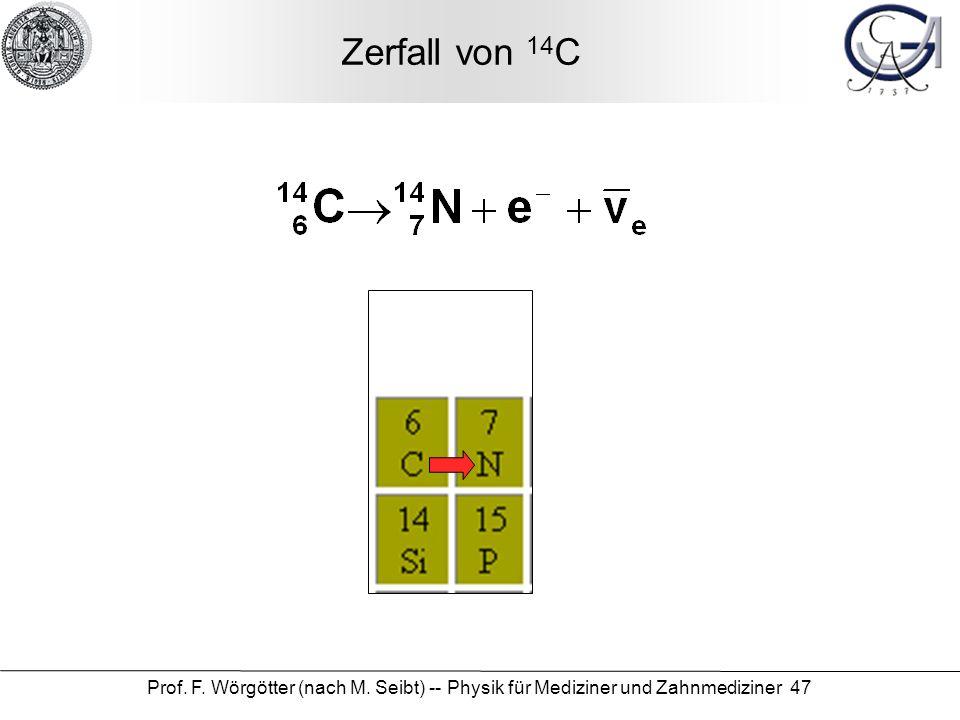 Prof. F. Wörgötter (nach M. Seibt) -- Physik für Mediziner und Zahnmediziner 47 Zerfall von 14 C