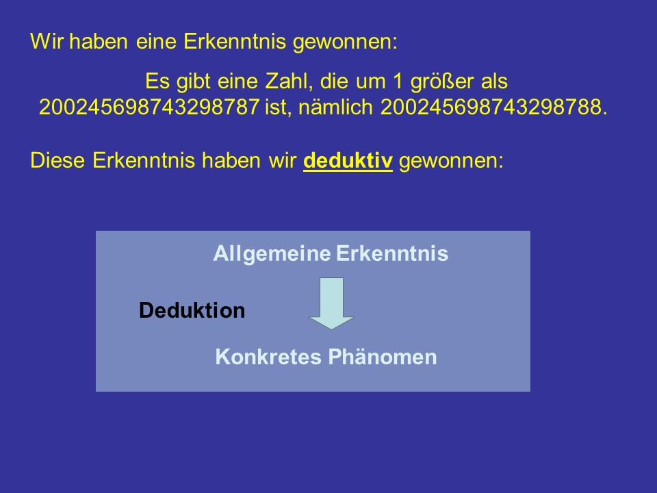 Wir haben eine Erkenntnis gewonnen: Es gibt eine Zahl, die um 1 größer als 200245698743298787 ist, nämlich 200245698743298788.