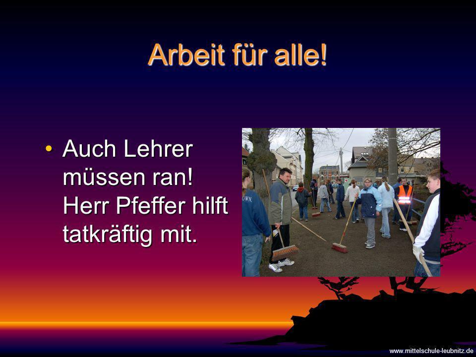 Arbeit für alle.Auch Lehrer müssen ran. Herr Pfeffer hilft tatkräftig mit.Auch Lehrer müssen ran.