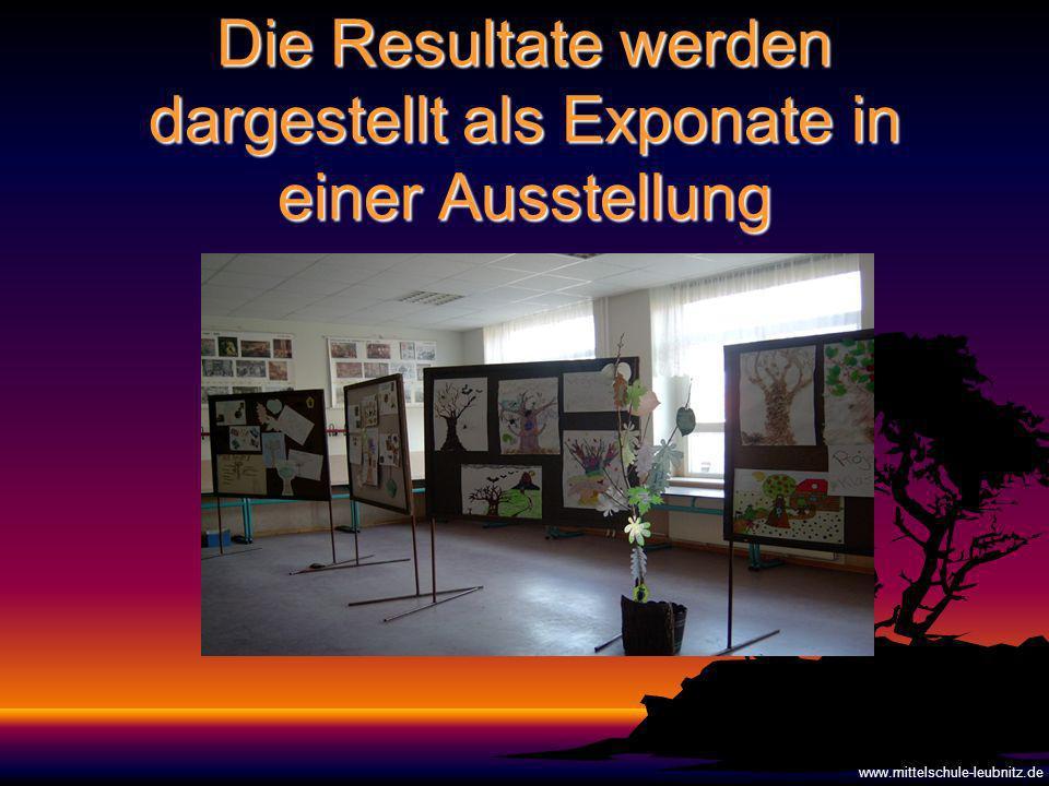 Die Resultate werden dargestellt als Exponate in einer Ausstellung www.mittelschule-leubnitz.de