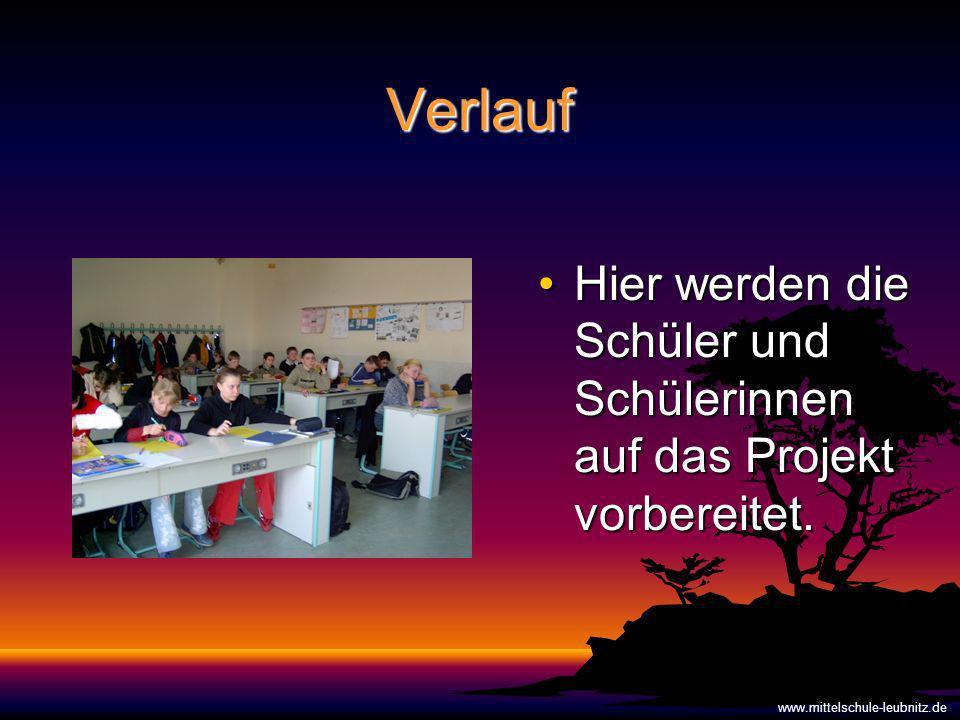 Verlauf Hier werden die Schüler und Schülerinnen auf das Projekt vorbereitet.