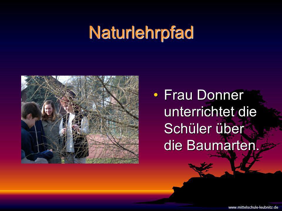 Naturlehrpfad Frau Donner unterrichtet die Schüler über die Baumarten.Frau Donner unterrichtet die Schüler über die Baumarten.