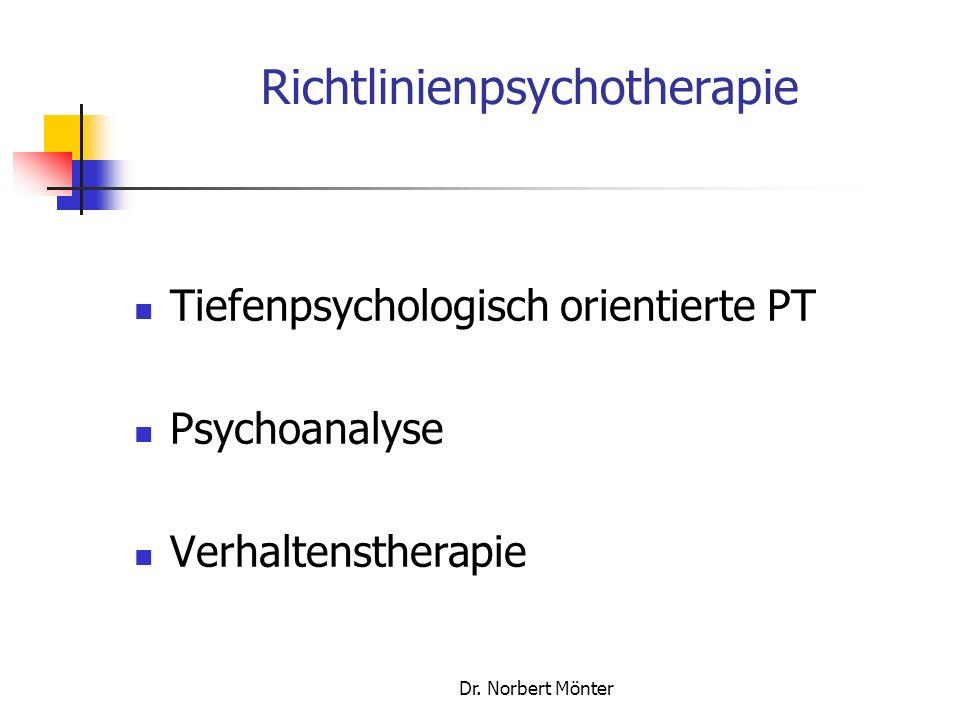 Dr. Norbert Mönter Richtlinienpsychotherapie Tiefenpsychologisch orientierte PT Psychoanalyse Verhaltenstherapie
