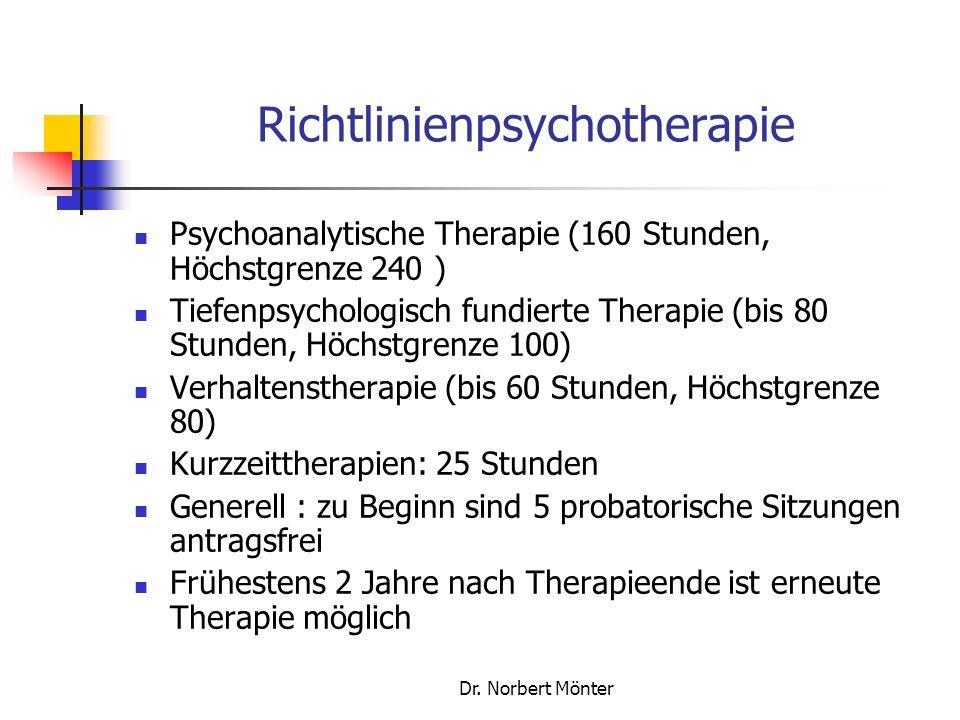 Dr. Norbert Mönter Richtlinienpsychotherapie Psychoanalytische Therapie (160 Stunden, Höchstgrenze 240 ) Tiefenpsychologisch fundierte Therapie (bis 8