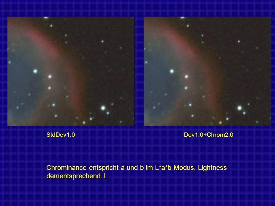 StdDev1.0 Dev1.0+Chrom2.0 Chrominance entspricht a und b im L*a*b Modus, Lightness dementsprechend L.