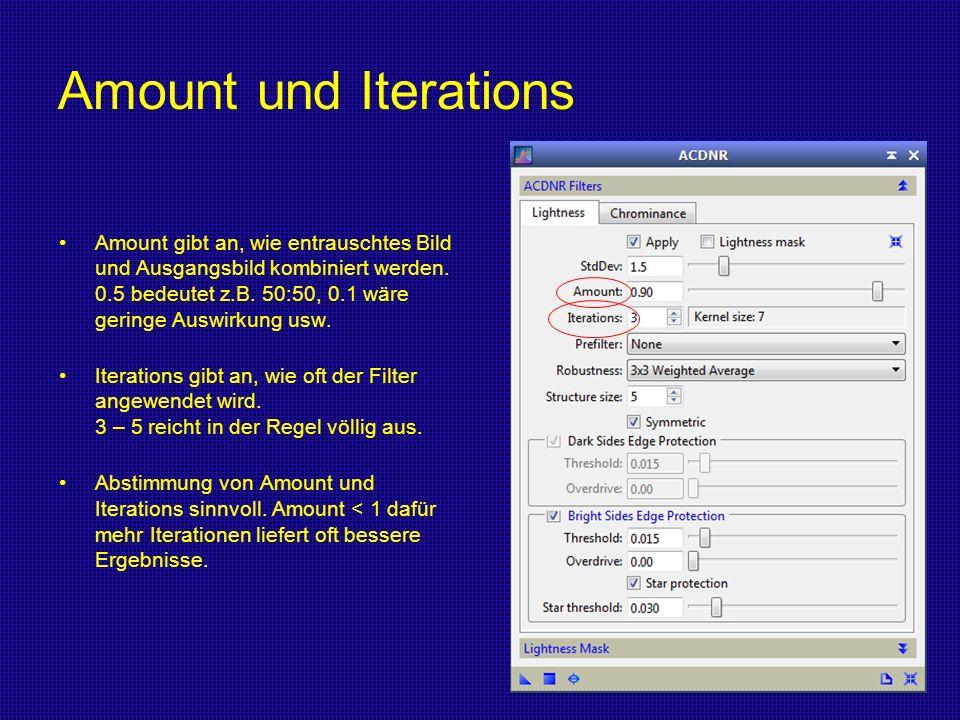 Amount und Iterations Amount gibt an, wie entrauschtes Bild und Ausgangsbild kombiniert werden. 0.5 bedeutet z.B. 50:50, 0.1 wäre geringe Auswirkung u