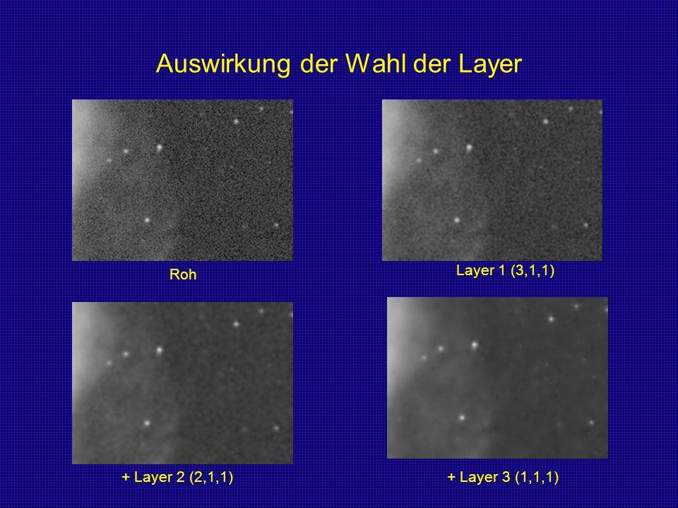 Auswirkung der Wahl der Layer Roh Layer 1 (3,1,1) + Layer 2 (2,1,1)+ Layer 3 (1,1,1)