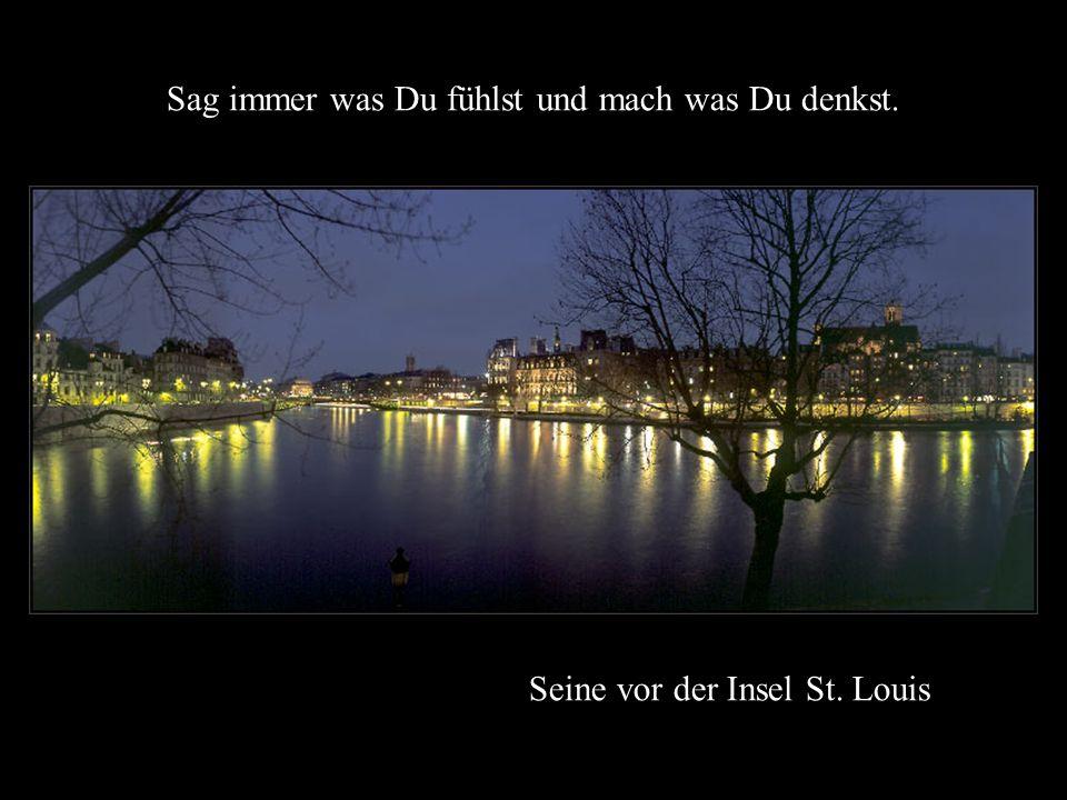 Blick von der Brücke Pont des Arts bei Sonnenaufgang Ich habe gelernt, dass ein Mensch nur das Recht hat auf einen anderen Mensch hinab zu blicken, we