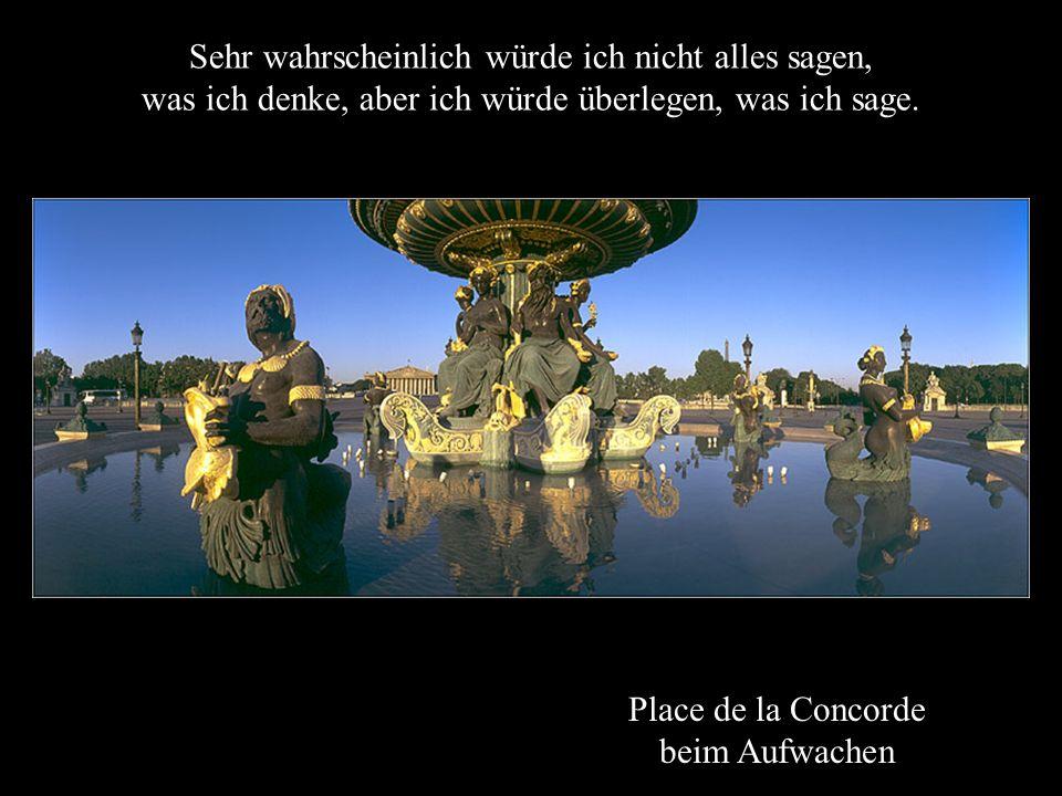 Place de la Concorde beim Aufwachen Sehr wahrscheinlich würde ich nicht alles sagen, was ich denke, aber ich würde überlegen, was ich sage.