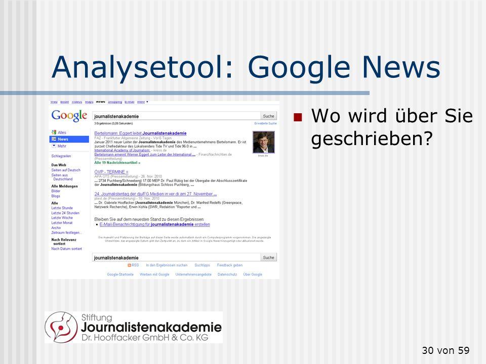 29 von 59 Social-Media-Analyse Im Folgenden einige Analyse-Tools, die Ihnen helfen, Social Media im Blick zu behalten.