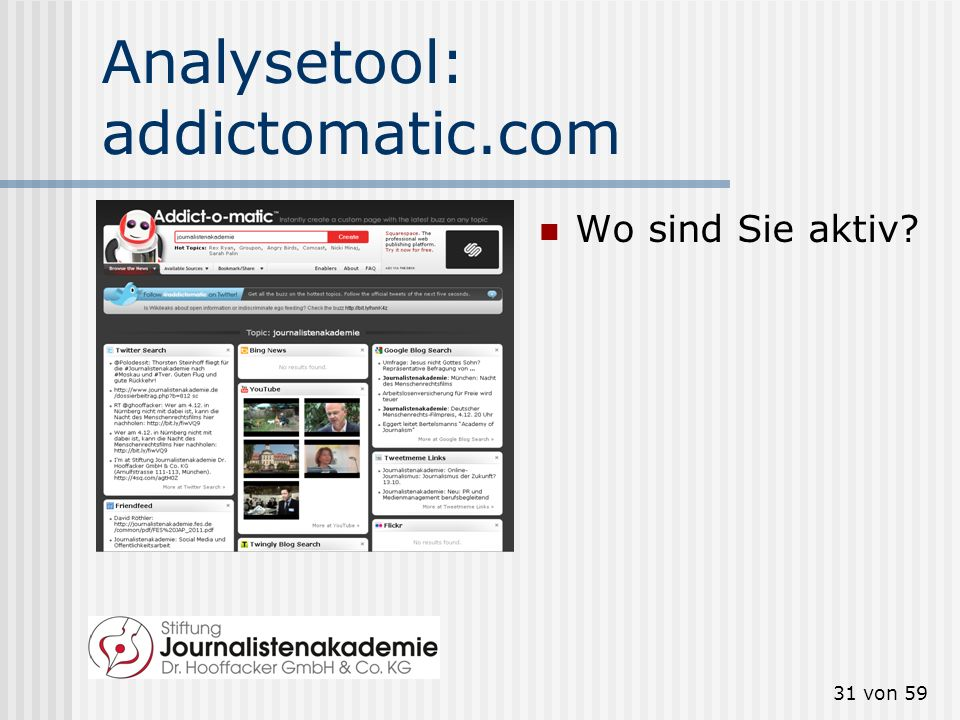 30 von 59 Analysetool: Google News Wo wird über Sie geschrieben?