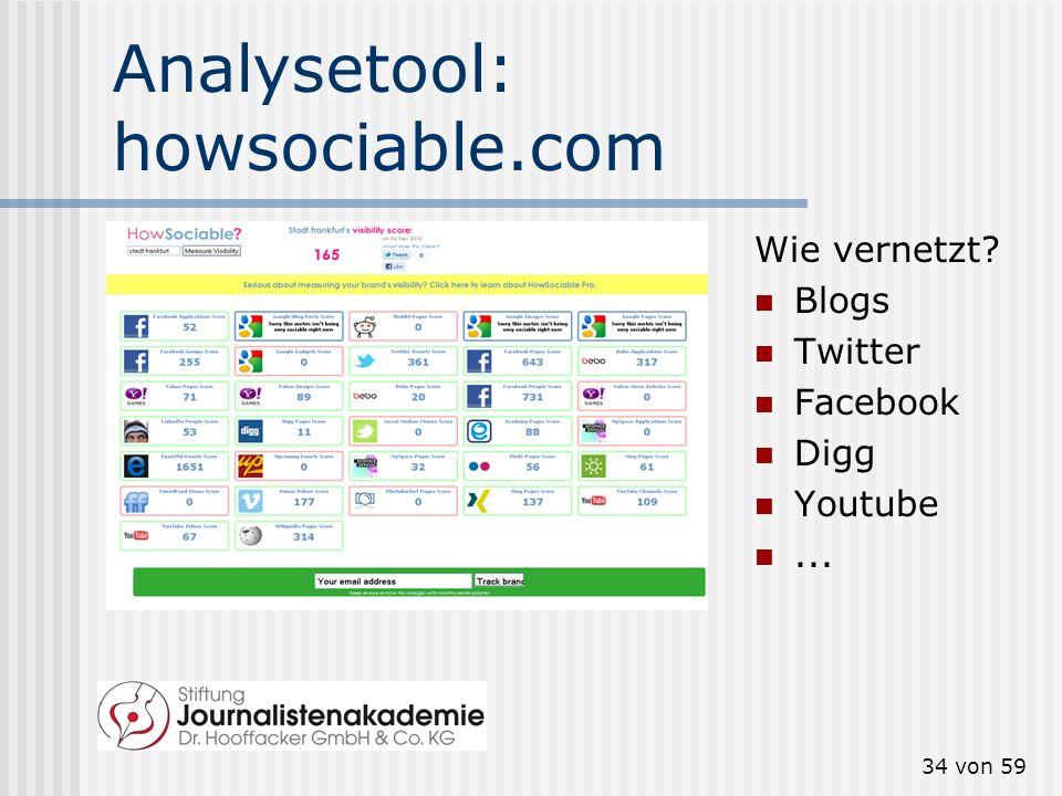 33 von 59 Analysetool: collecta.com Wo Sie sind: Blogs Twitter Facebook Flickr Youtube...