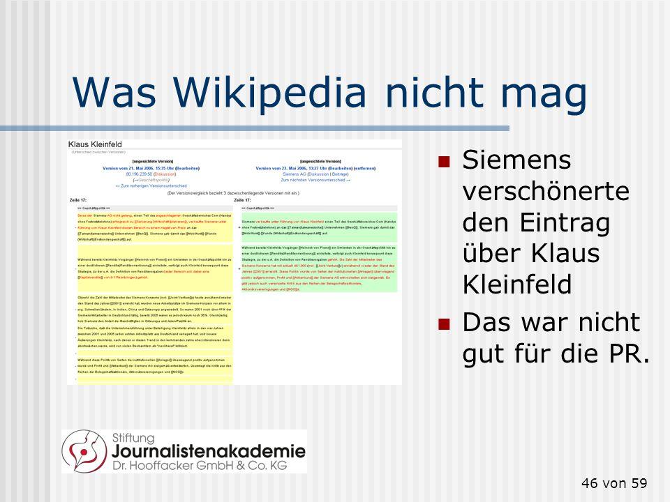 45 von 59 Wikipedia ist sooo anonym: Wer ändert denn da ganz anonym einen Wikipedia-Eintrag? Ach so. Die Rheinisch- Westfälische Technische Hochschule