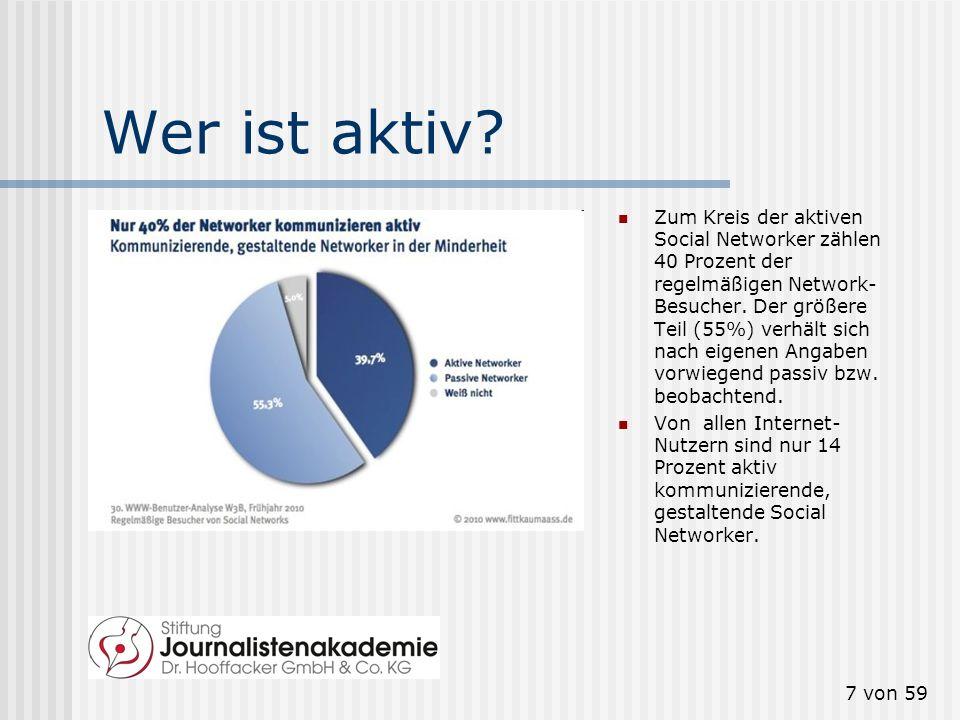 6 von 59 Wer nutzt sie? Wachstum stagniert 62 Prozent der Internet-Nutzer besuchen Social Networks. 35 Prozent nutzen Social Networks regelmäßig (= mi