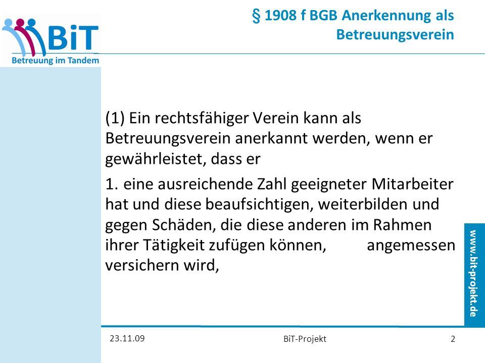 www.bit-projekt.de 23.11.09 BiT-Projekt13 Finanzierung der Tandem- Betreuung Vergütung für den Vereinsbetreuer Aufwandspauschale für den ehrenamtlichen Betreuer