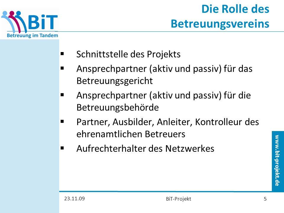 www.bit-projekt.de 23.11.09 BiT-Projekt16 BiT Betreuung im Tandem Betreuung im Team kann nur funktionieren mit dem Engagement aller Beteiligter, mit der Bereitschaft, sich auf etwas Neues und auf Arbeit einzulassen und viel miteinander zu reden.