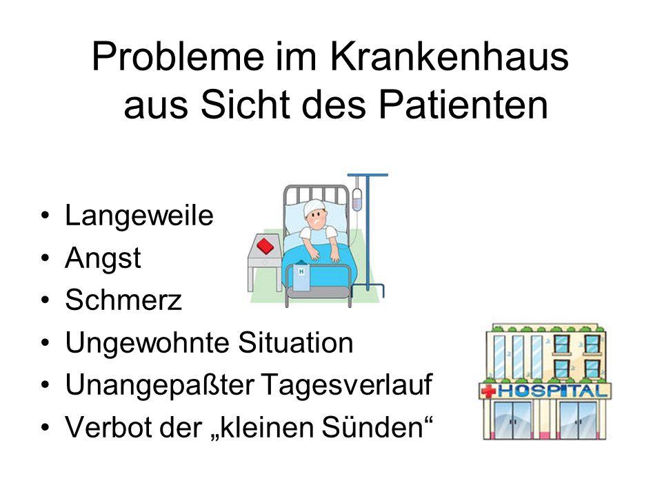 Probleme im Krankenhaus aus Sicht des Patienten Langeweile Angst Schmerz Ungewohnte Situation Unangepaßter Tagesverlauf Verbot der kleinen Sünden
