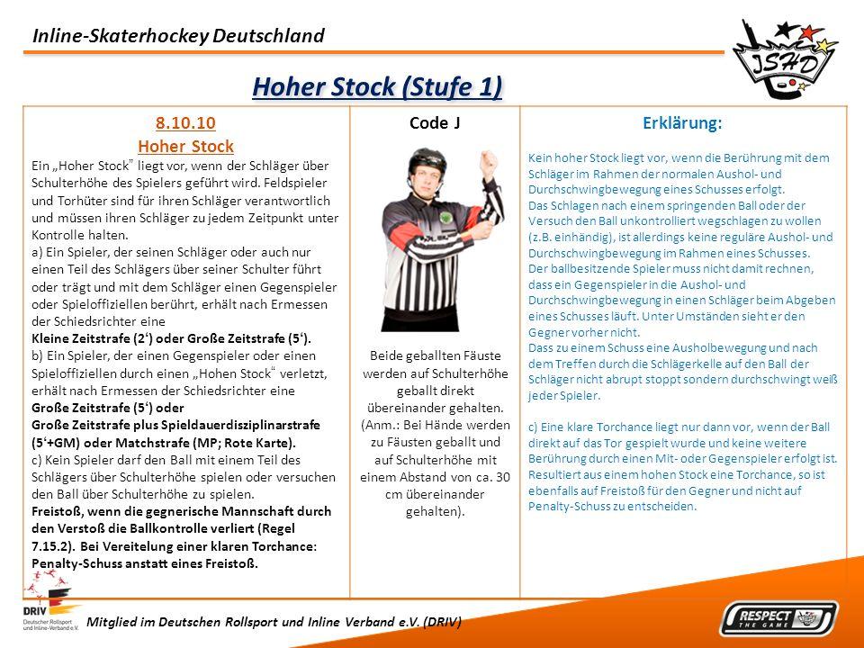 Inline-Skaterhockey Deutschland Mitglied im Deutschen Rollsport und Inline Verband e.V. (DRIV) Hoher Stock (Stufe 1) 8.10.10 Hoher Stock Ein Hoher Sto