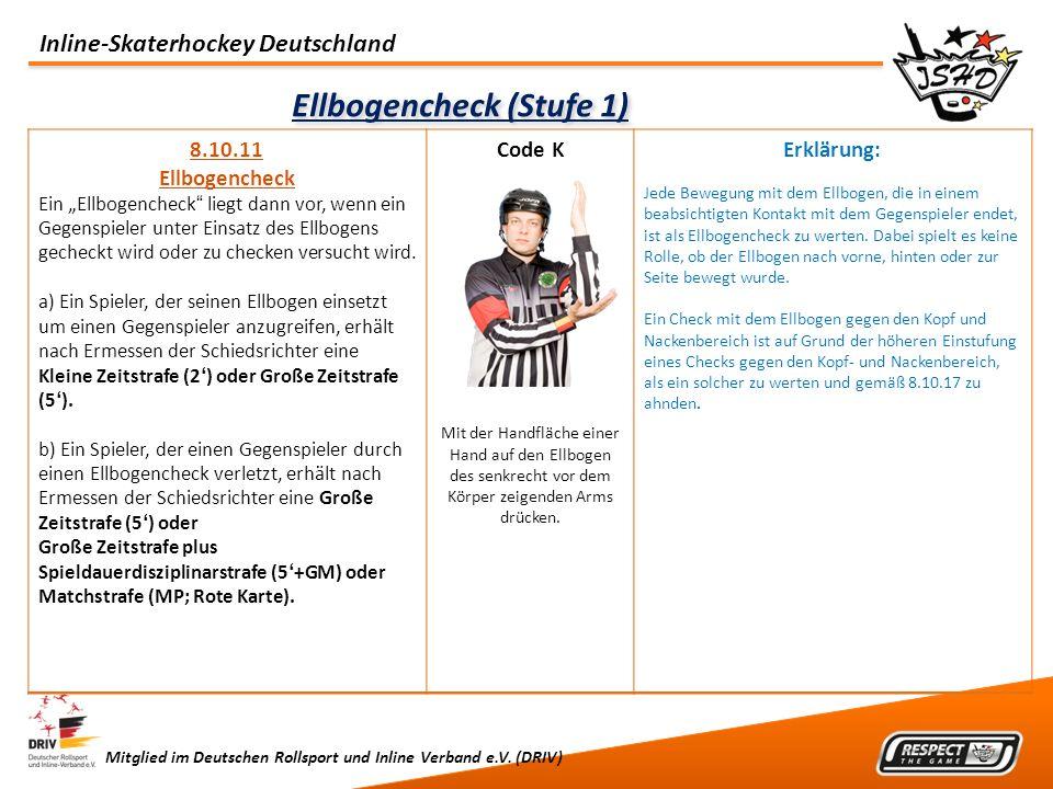 Inline-Skaterhockey Deutschland Mitglied im Deutschen Rollsport und Inline Verband e.V. (DRIV) Ellbogencheck (Stufe 1) 8.10.11 Ellbogencheck Ein Ellbo