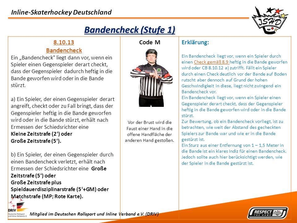 Inline-Skaterhockey Deutschland Mitglied im Deutschen Rollsport und Inline Verband e.V. (DRIV) Bandencheck (Stufe 1) 8.10.13 Bandencheck Ein Bandenche