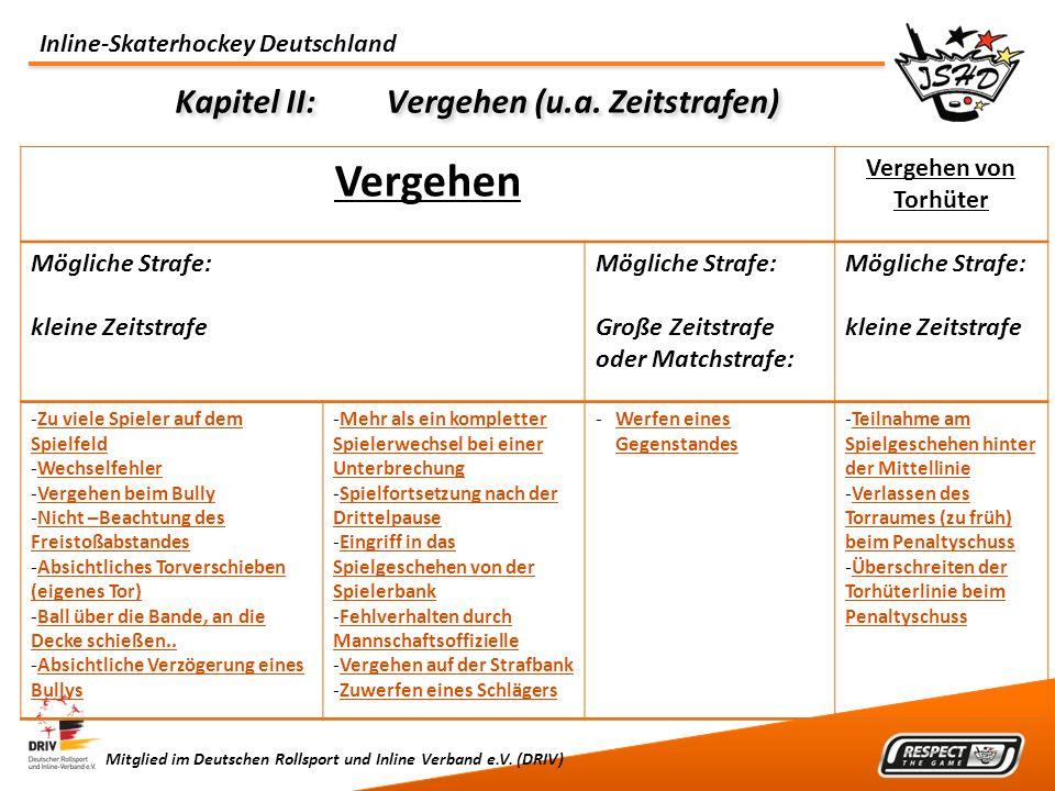 Inline-Skaterhockey Deutschland Mitglied im Deutschen Rollsport und Inline Verband e.V. (DRIV) Kapitel II:Vergehen (u.a. Zeitstrafen) Vergehen Vergehe