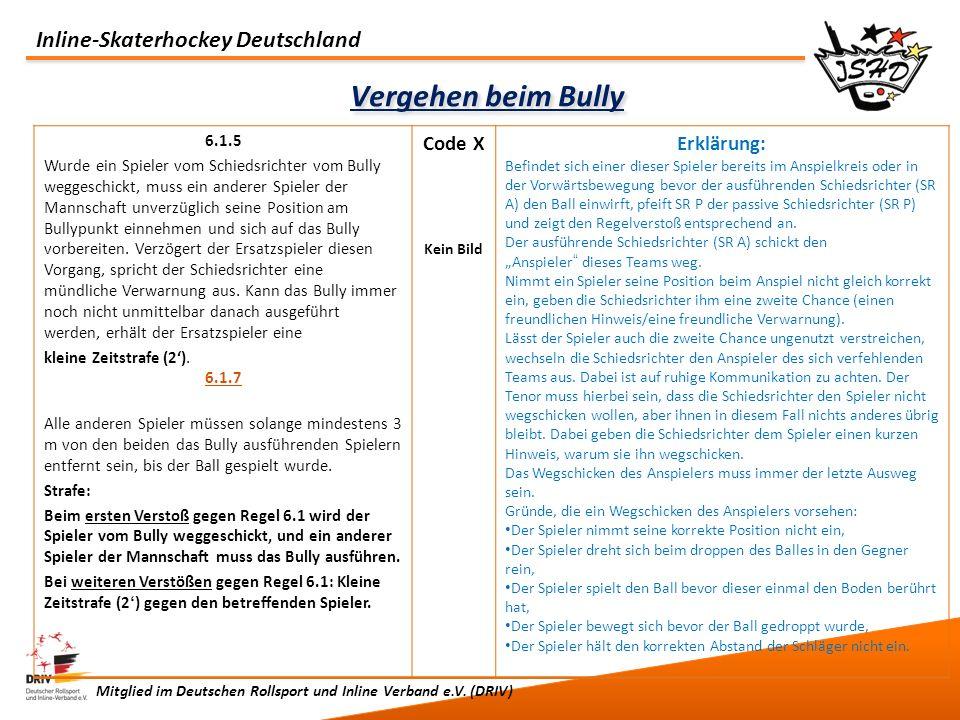 Inline-Skaterhockey Deutschland Mitglied im Deutschen Rollsport und Inline Verband e.V. (DRIV) Vergehen beim Bully 6.1.5 Wurde ein Spieler vom Schieds
