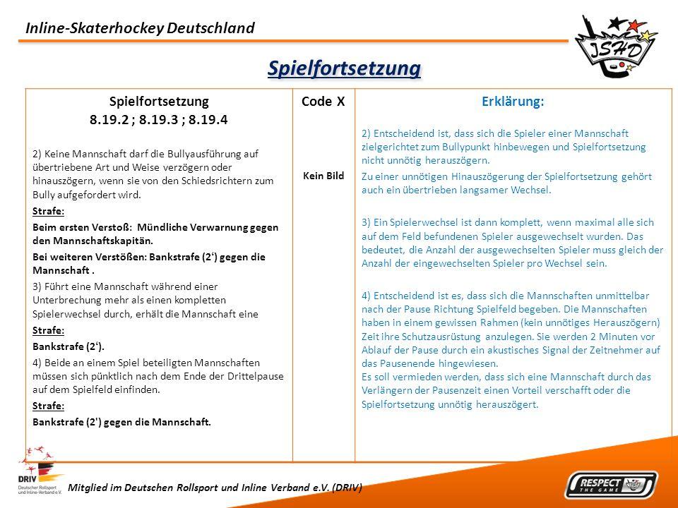 Inline-Skaterhockey Deutschland Mitglied im Deutschen Rollsport und Inline Verband e.V. (DRIV) Spielfortsetzung 8.19.2 ; 8.19.3 ; 8.19.4 2) Keine Mann